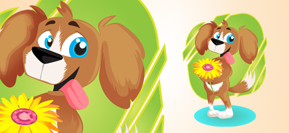 Vector Dog With Flower