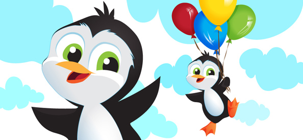 Vector Penguin With Balloons