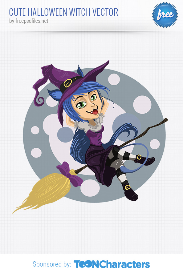 Cute Halloween Witch Vector Character