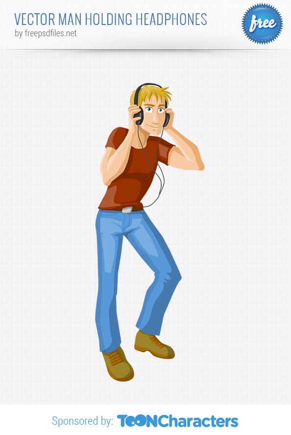 Vector Man Holding Headphones