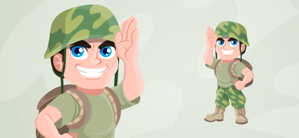 Soldier With a Backpack