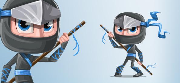 Fierce Ninja Boy Vector Character