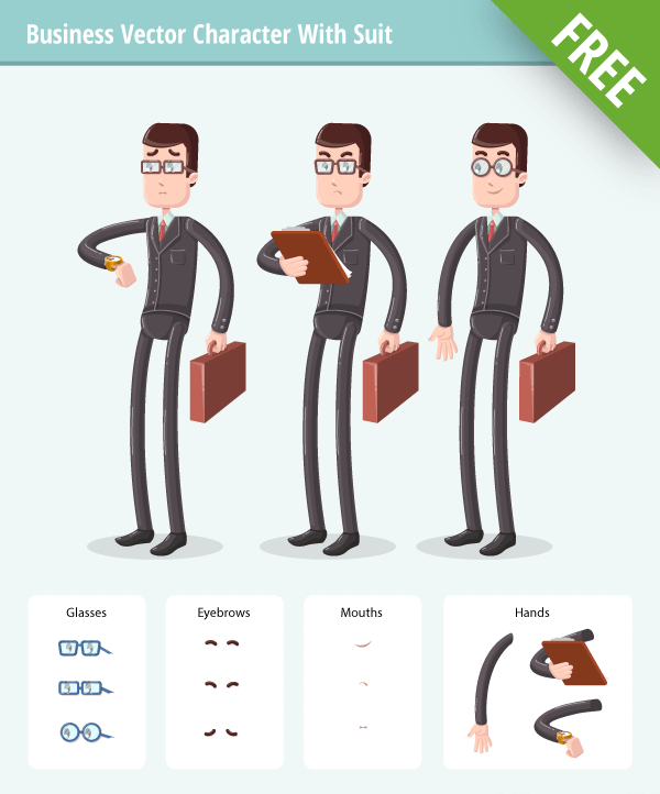 Business Vector Character Set with suit free