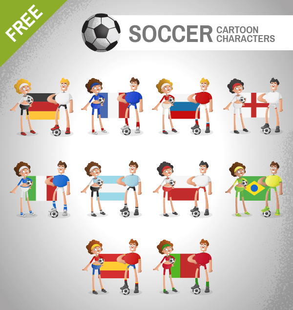 Soccer Cartoon Characters Vector Set
