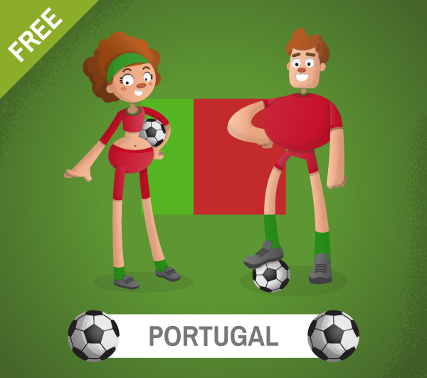 free portugal Soccer Cartoon Characters