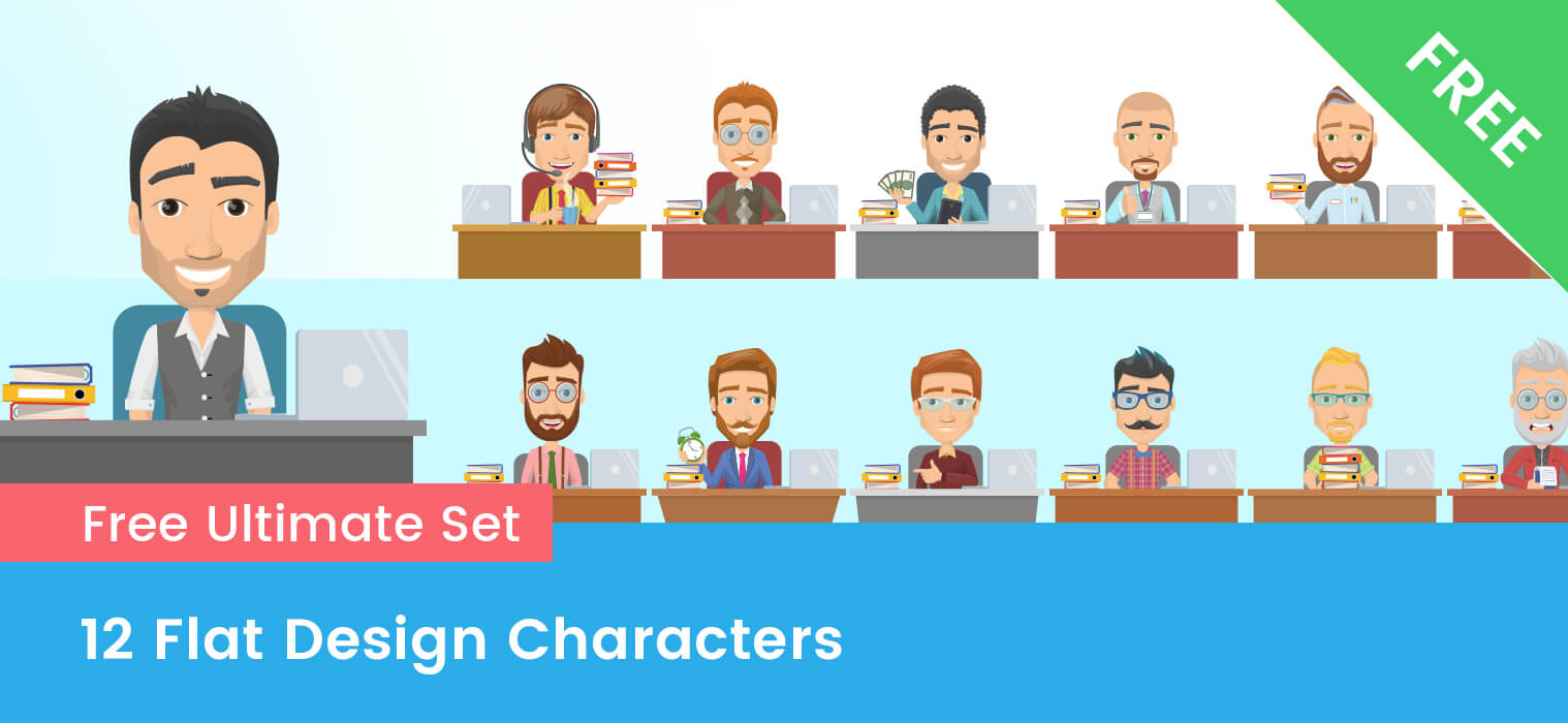 FREE Flat Design Characters – Complete set