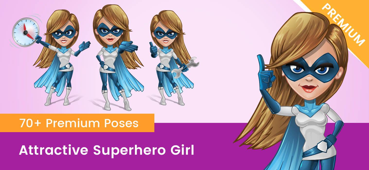 Attractive Superhero Girl Vector