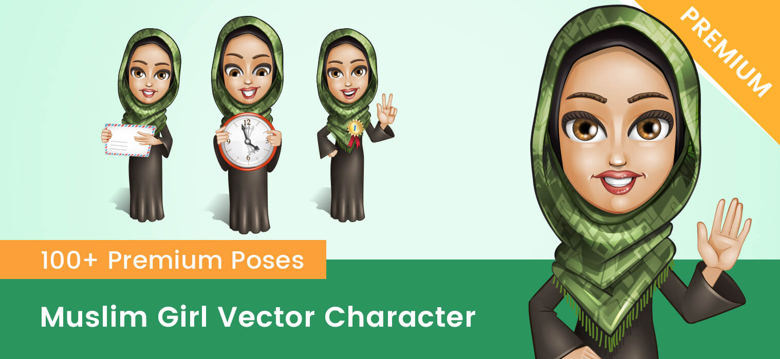 Muslim Girl Vector Character