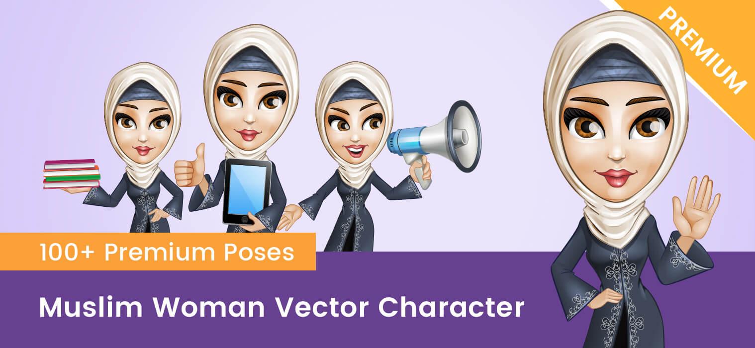 Muslim Woman Vector Character