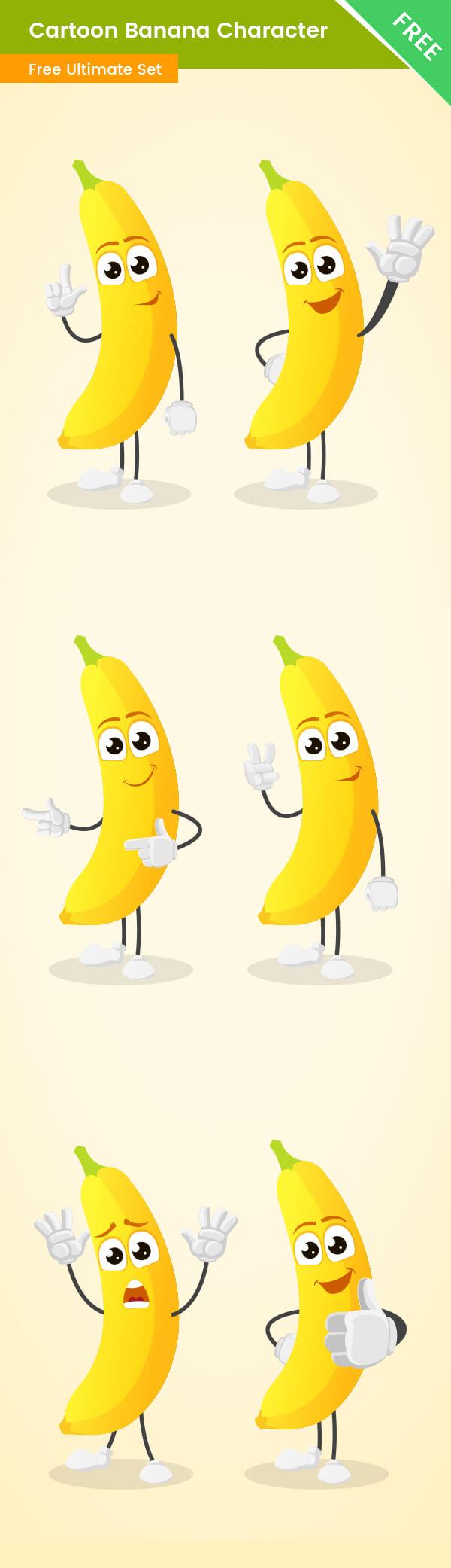 Cartoon Banana Vector Set