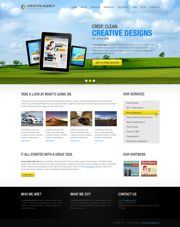 Creative Website CSS Template with Full Screen jQuery Slider ...