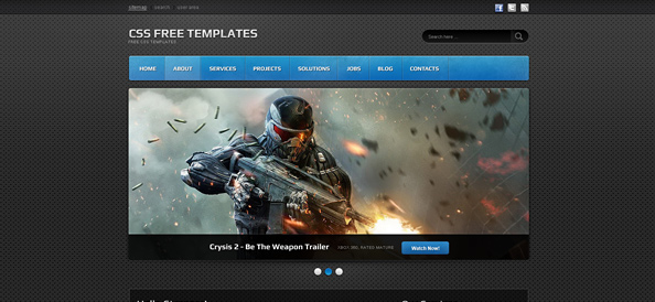 Dark Website CSS Template for Portfolios, Games and IT Businesses