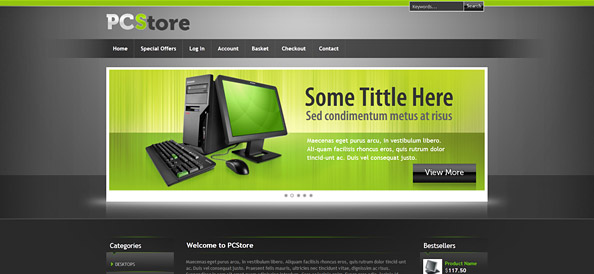 Free Ecommerce Template for Hardware and Software