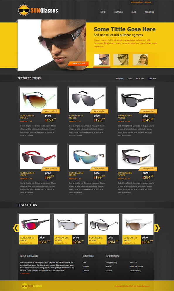 Free eCommerce CSS Template for Sunglasses Online Shop - Website ...