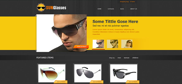 Free eCommerce CSS Template for Sunglasses Online Shop