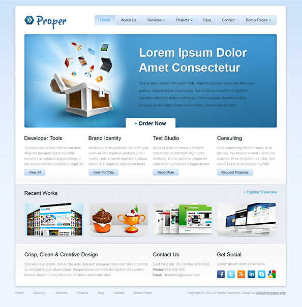 Free Website CSS Template  Proper Preview