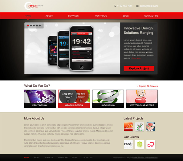 Free Website CSS Template for Portfolio Preview