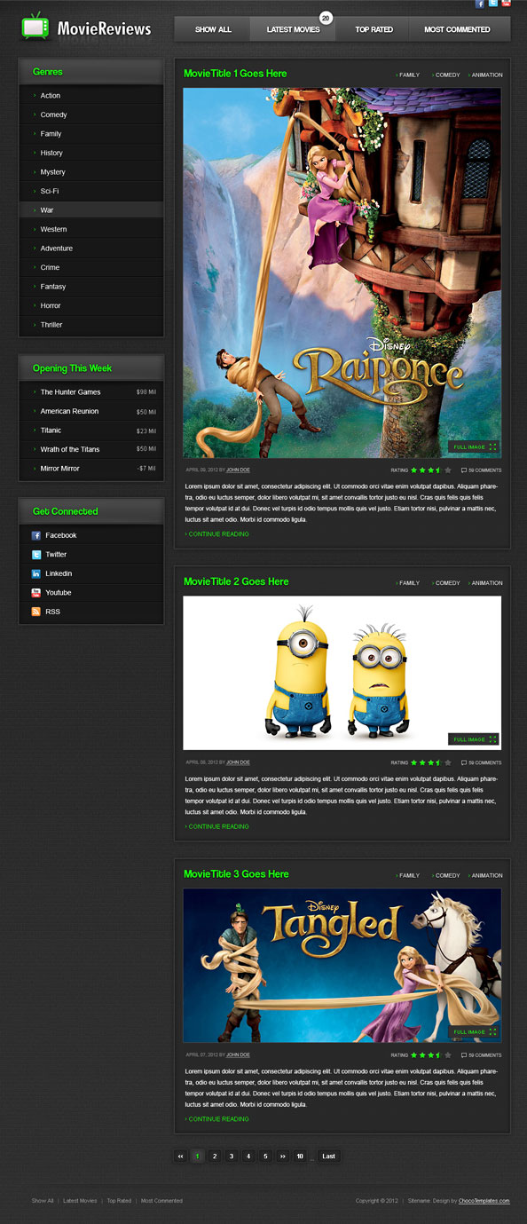 HTML5 Movie Template - Website CSS Templates