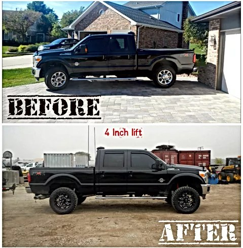 Lift Kit Installation Chicago   Trucks   Jeeps   CPW Truck Stuff Before and after picture of Ford with a Skyjacker 4 inch lift kit installed  Chicago Illinois