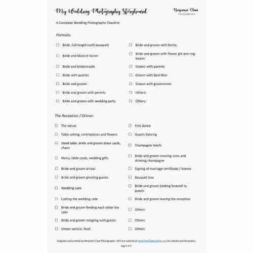 Medium Crop Of Wedding Photography Checklist