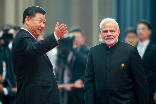 Chinese President Xi Jinping and Indian Prime Minister Narendra Modi at the Shanghai Cooperation Organization Summit.