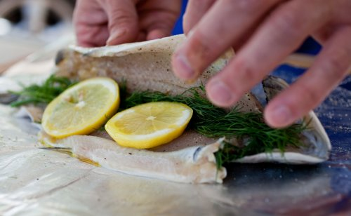 Assorted Whole Rainbow Trout Baked Foil Recipe Nyt Cooking Grilled Trout Marinade Recipes Grilled Trout Recipes Foil