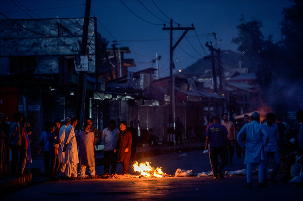 Protesters blocking a street in Srinagar this week.