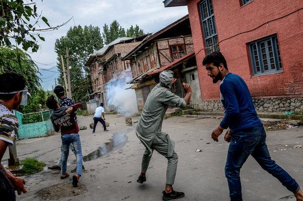 Rock-throwing protesters in Srinagar last week.