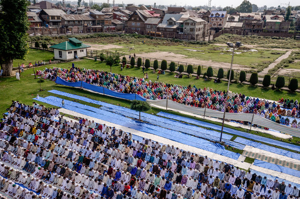 Prayers for Eid in Srinagar last week. Kashmir was India's only Muslim-majority state, and revoking its special status was a Hindu-nationalist goal for many years.