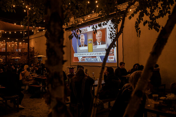 Watching election results in Brooklyn.