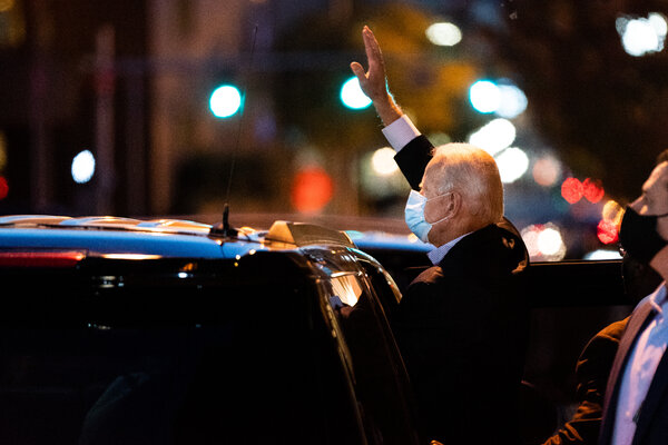 Joseph R. Biden Jr. waved to supporters as he left the Queen theater in Wilmington, Del., on Thursday.