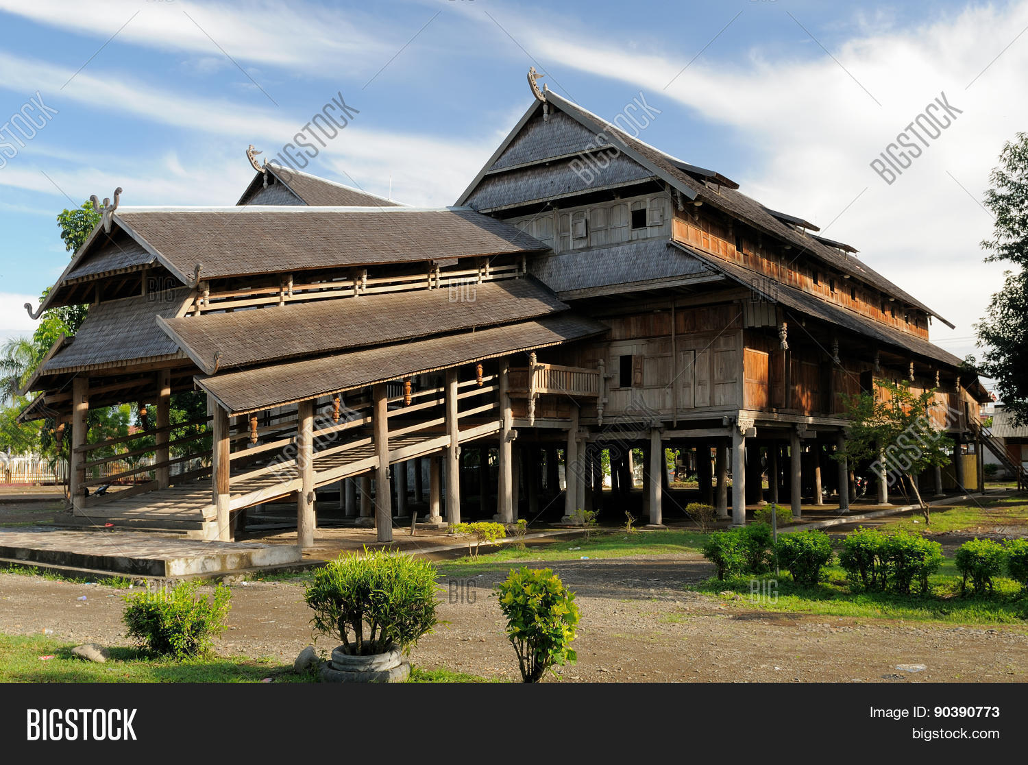 wooden rumah istana sumbawa palace of the sultan in besar town indonesia