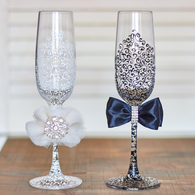 wedding toasting glasses wedding glasses Hand Painted Lace Wedding Flutes