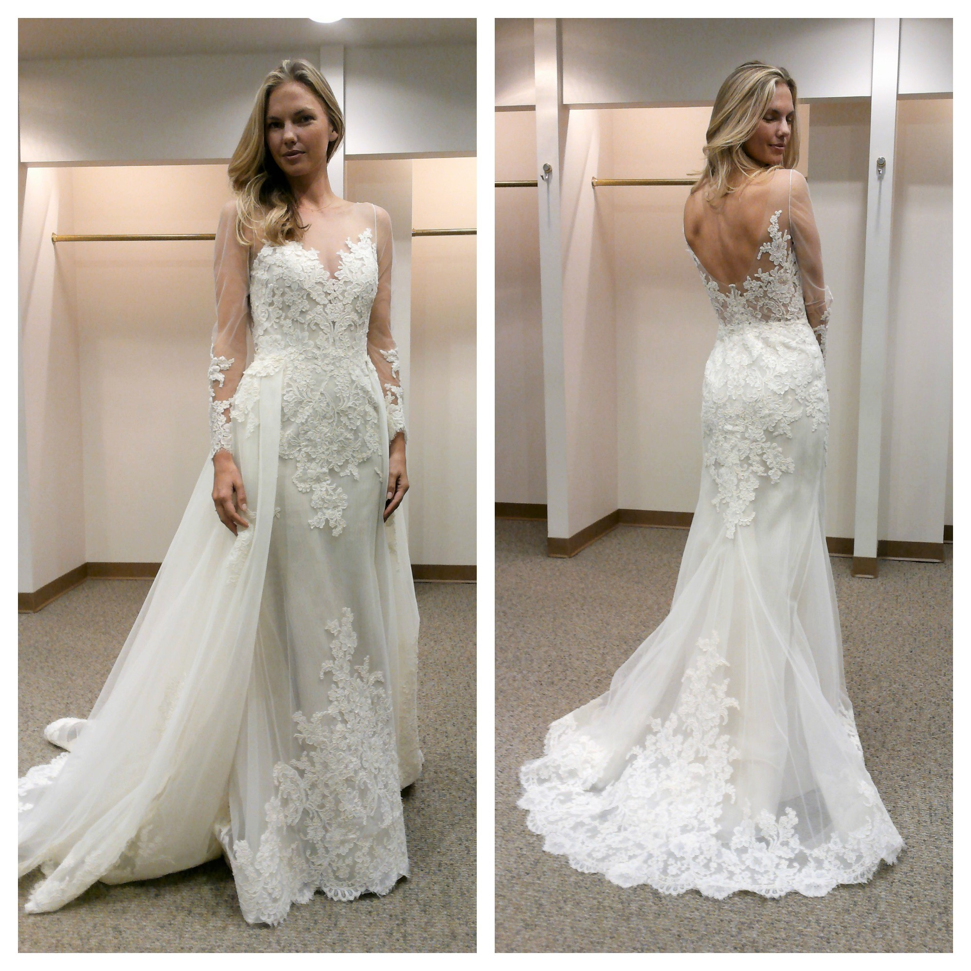 annalise goes to new york bridal market get the latest bridal trends and styles wedding dress skirt Left Liancarlo with detachable skirt Right Liancarlo without skirt