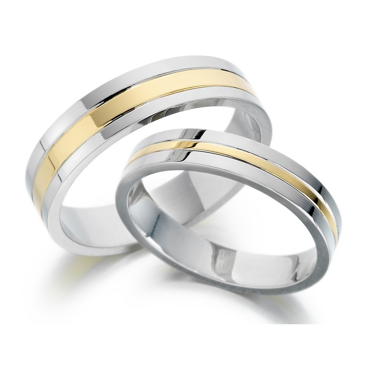 wedding matching wedding band sets Matching wedding band set with rose gold center lining