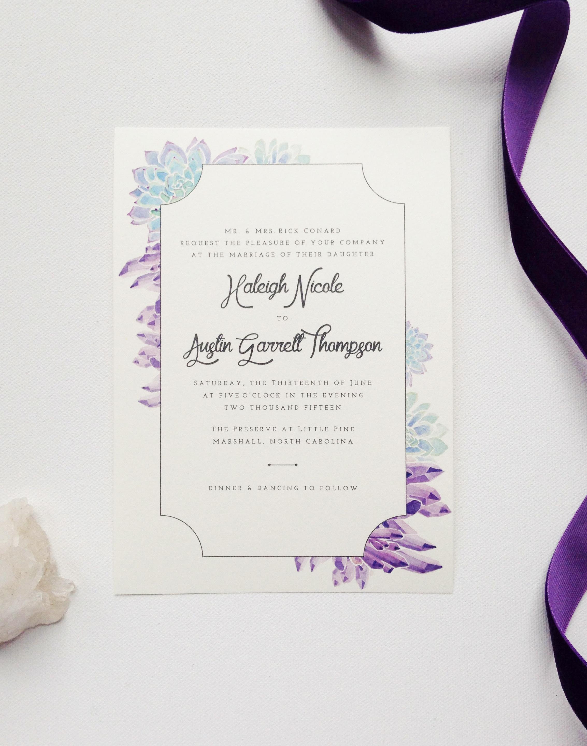 succulent wedding invitations succulent wedding invitations watercolor amethyst and succulent wedding invitation by sable and gray paper co
