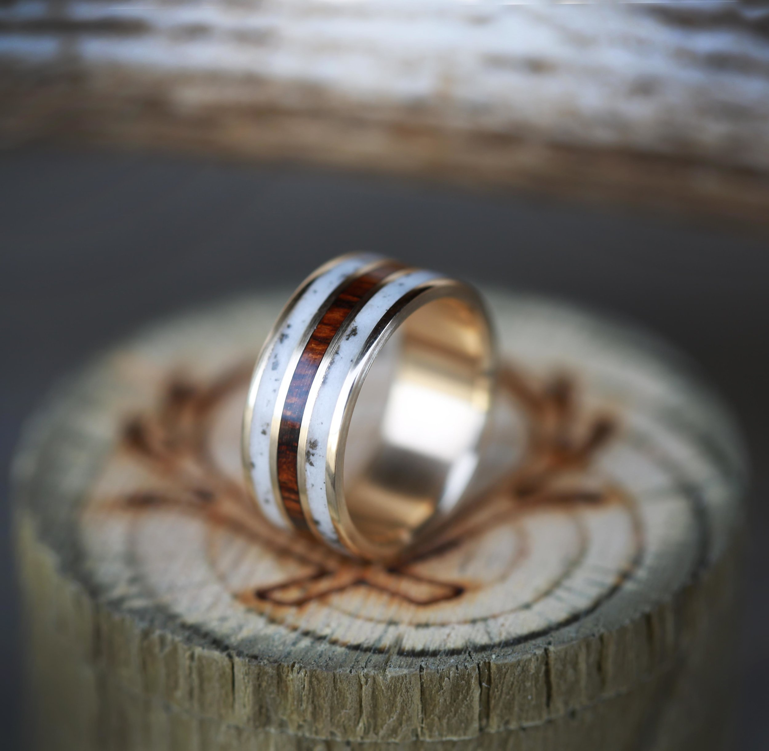 products wedding bands men Ironwood elk antler wedding band with inlays of ironwood elk antler custom made