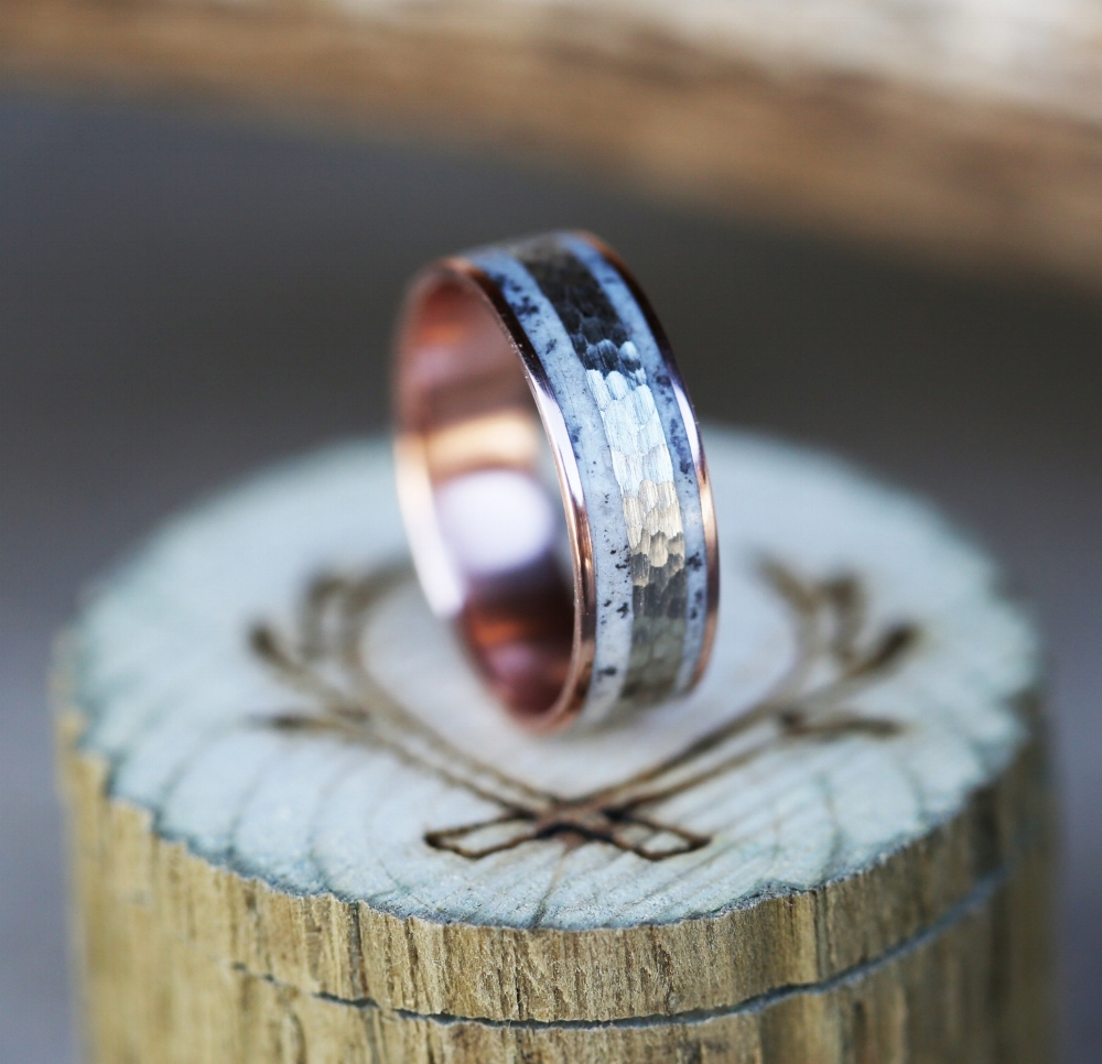 products wood wedding rings Men s rose gold wedding band with hammered white gold and elk antler inlay