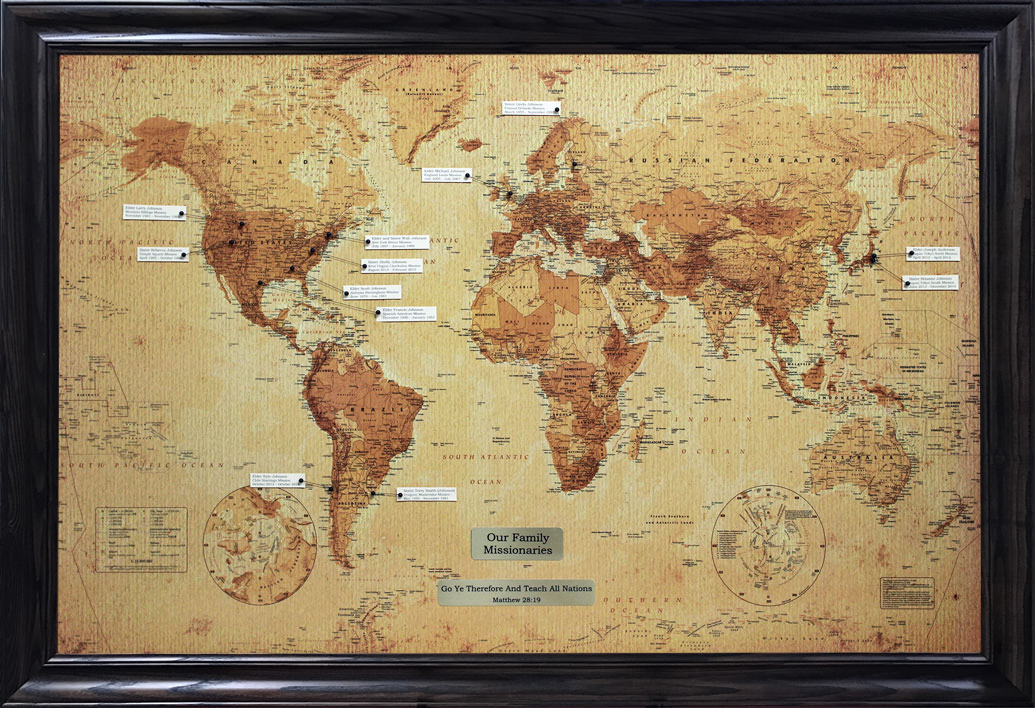 The Family Missionary Map     Roots of Zion 24  x 36  map displayed with family names