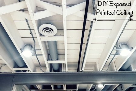 how to paint bat ceiling Painting Exposed Bat Ceiling on painting concrete floor, painting bathroom ceiling, painting exposed foundation, painting open ceiling, painting exposed brick, painting trim,