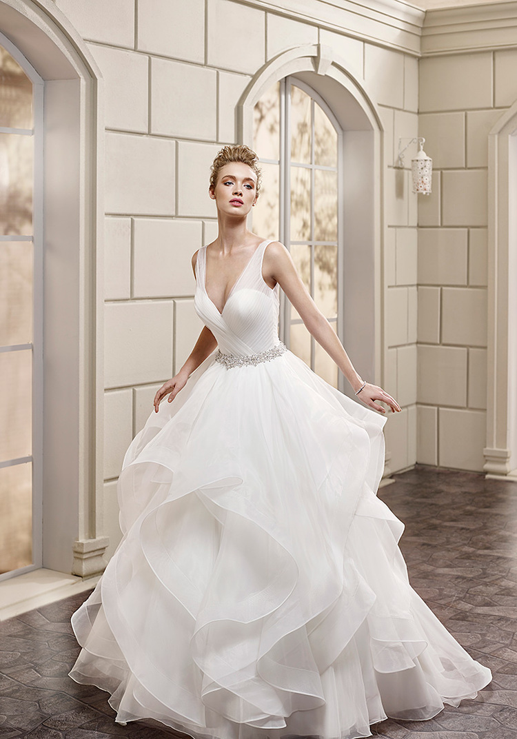 plunging neckline bridal gown plunge wedding dress From Eddy K s Milano Collection style AK is a sexy yet