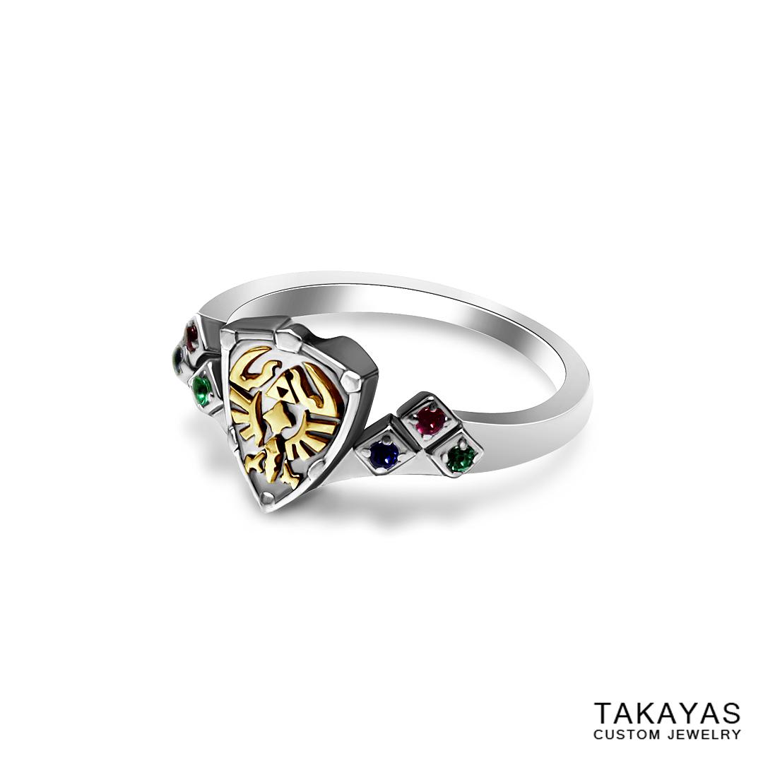 Gracious Hylian Shield Zelda Wedding Ring Takayas Custom Jewelry Zelda Wedding Ring Set Zelda Wedding Ring wedding rings Zelda Wedding Ring