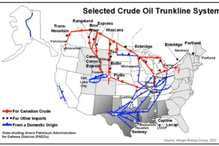 Map Us Oil Pipelines Map Of Major US Oil And Gas Pipelines - Oil pipeline map north america