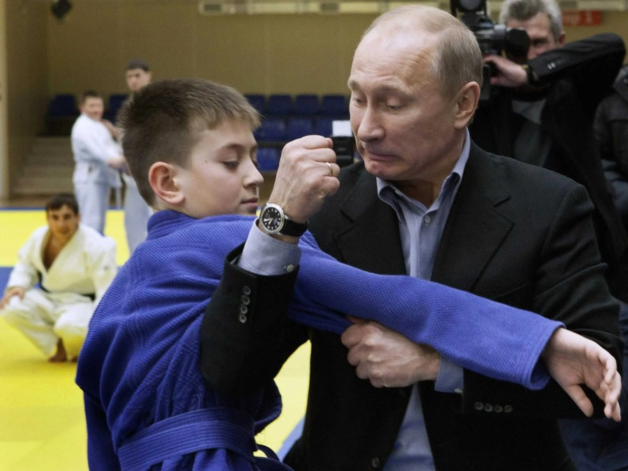Here, Putin educates a Judo student in the art of inflicting pain on enemies with his bare hands.