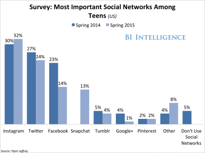 Most important socoal networks for teens