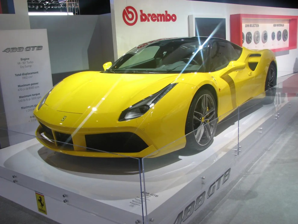 Ferrari is absent in Detroit, but the new 488 GTB supercar isn't, thanks to Brembo, a company that makes high-performance brakes. Not my favorite Ferrari color, but it'll do.