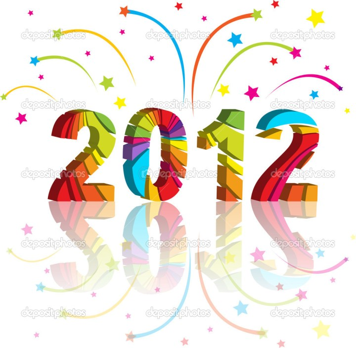 New Year 2012 In Colorful Background Design Vector Illustration. 1024 x 1001.Happy New Years In Hawaiian