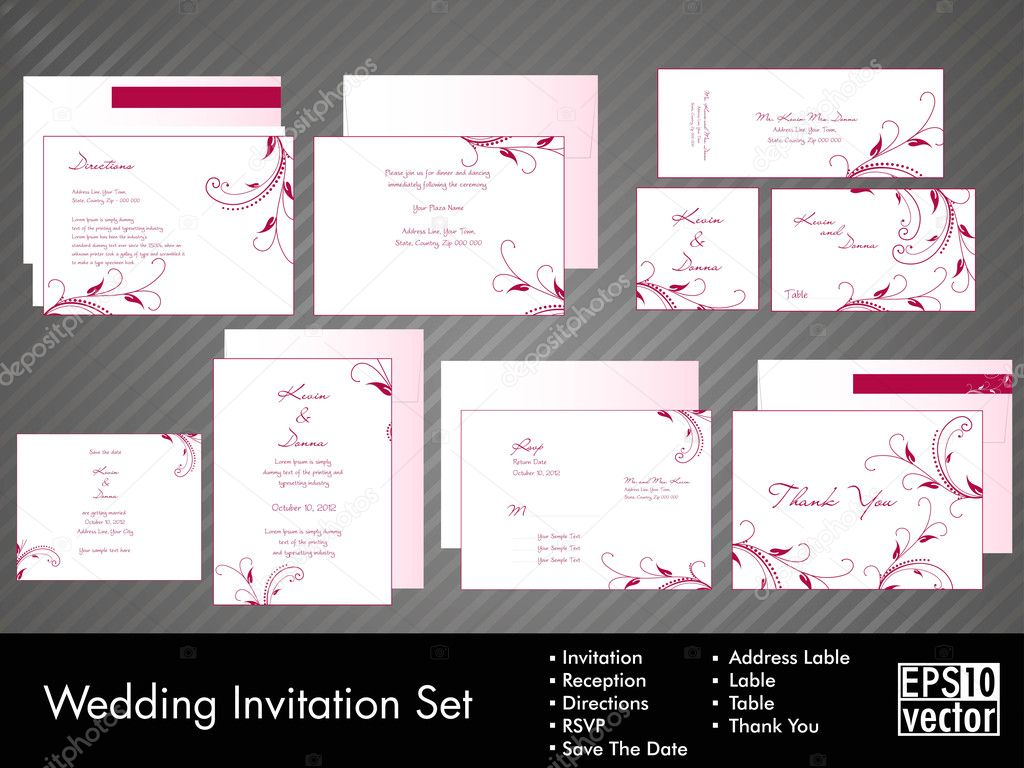 stock illustration a complete wedding invitation kit wedding invitation kit A complete wedding Invitation kit with beautiful and elegant abstract floral design in pink color on white color background EPS 10 Stock Illustration