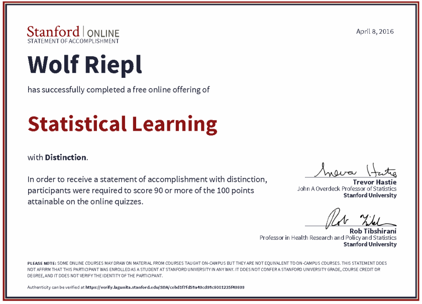 Stanford University: Statistical Learning, Certificate