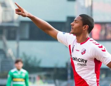 UTRECHT, FC Utrecht - FC Dordrecht, voetbal Eredivisie seizoen 2014-2015, 15-02-2015, Stadion de Galgenwaard, FC Utrecht speler Sebastien Haller heeft de 1-0 gescoord.